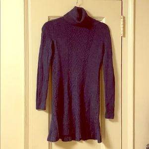 Theory blue cable knit sweater dress